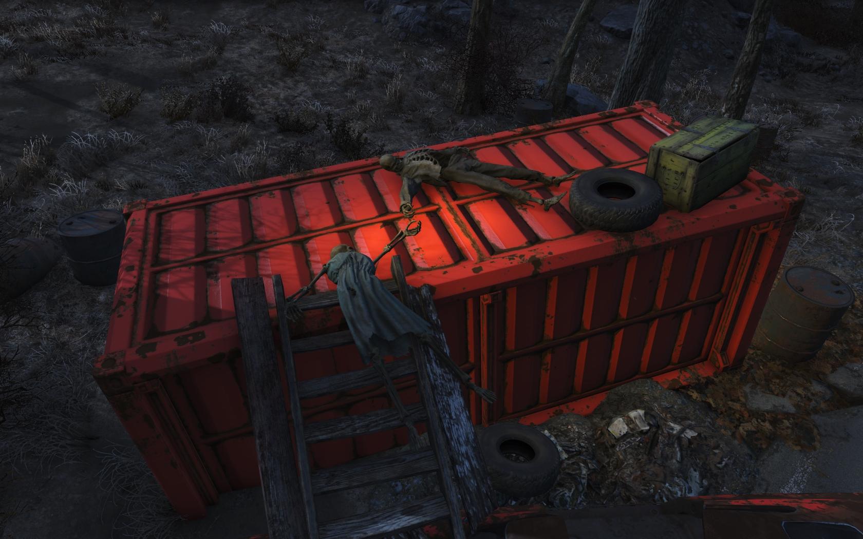 Не спаслись (восточнее Цеха сборки машин Корвега) - Fallout 4 Корвега, скелет