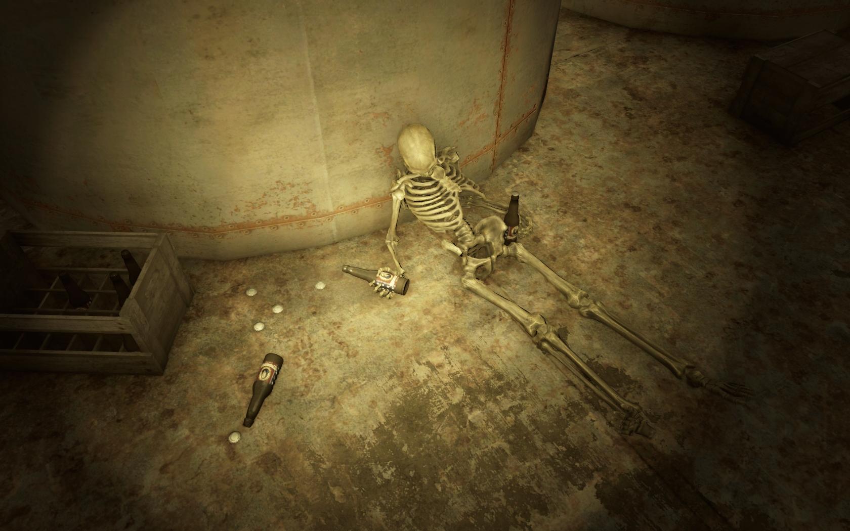 Обоерукий выпивоха (Пивоварня Бинтаун) - Fallout 4 скелет, Юмор