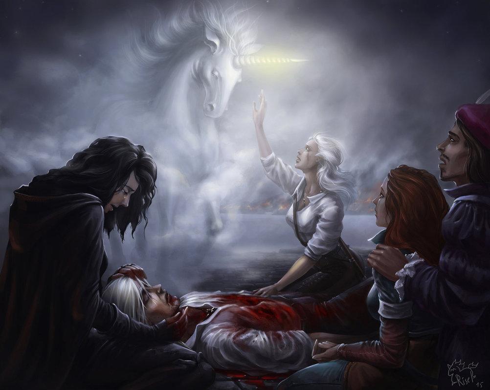 Геральт, Цирилла, Йеннифэр, Трисс Меригольд, Лютик, Единорог - Witcher 3: Wild Hunt, the