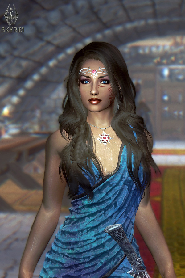 513. Платье синее драпированное.jpg - Elder Scrolls 5: Skyrim, the CBBE, Сборка-21