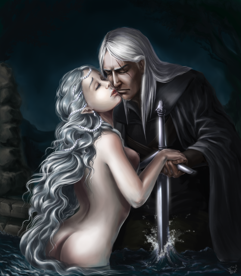 geralt_and_lady_of_the_lake_by_risel-d6hrfth.png - Witcher 3: Wild Hunt, the