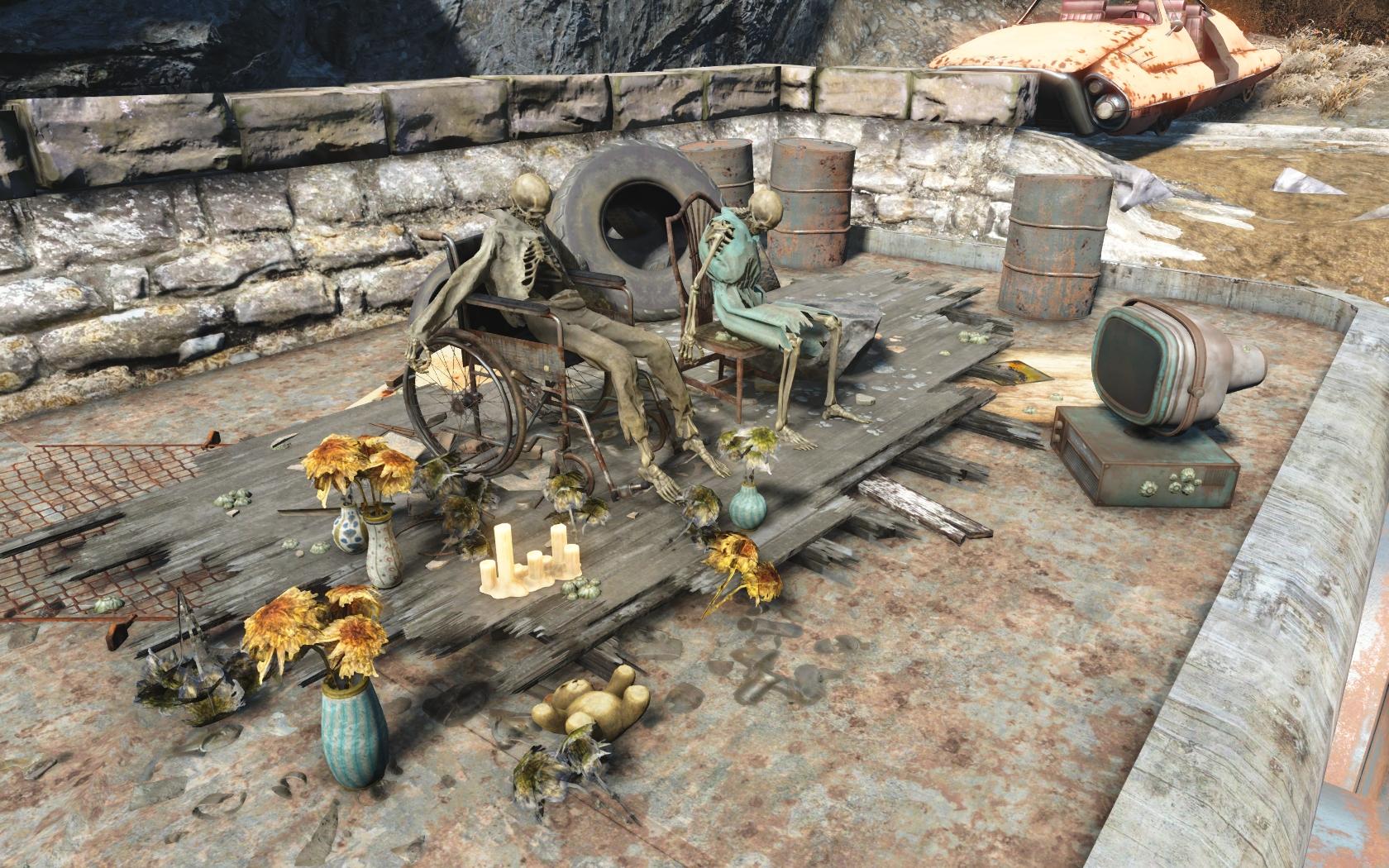 Парочка (на противоположном берегу озера у Альянса) - Fallout 4 Альянс, Скелет, Юмор