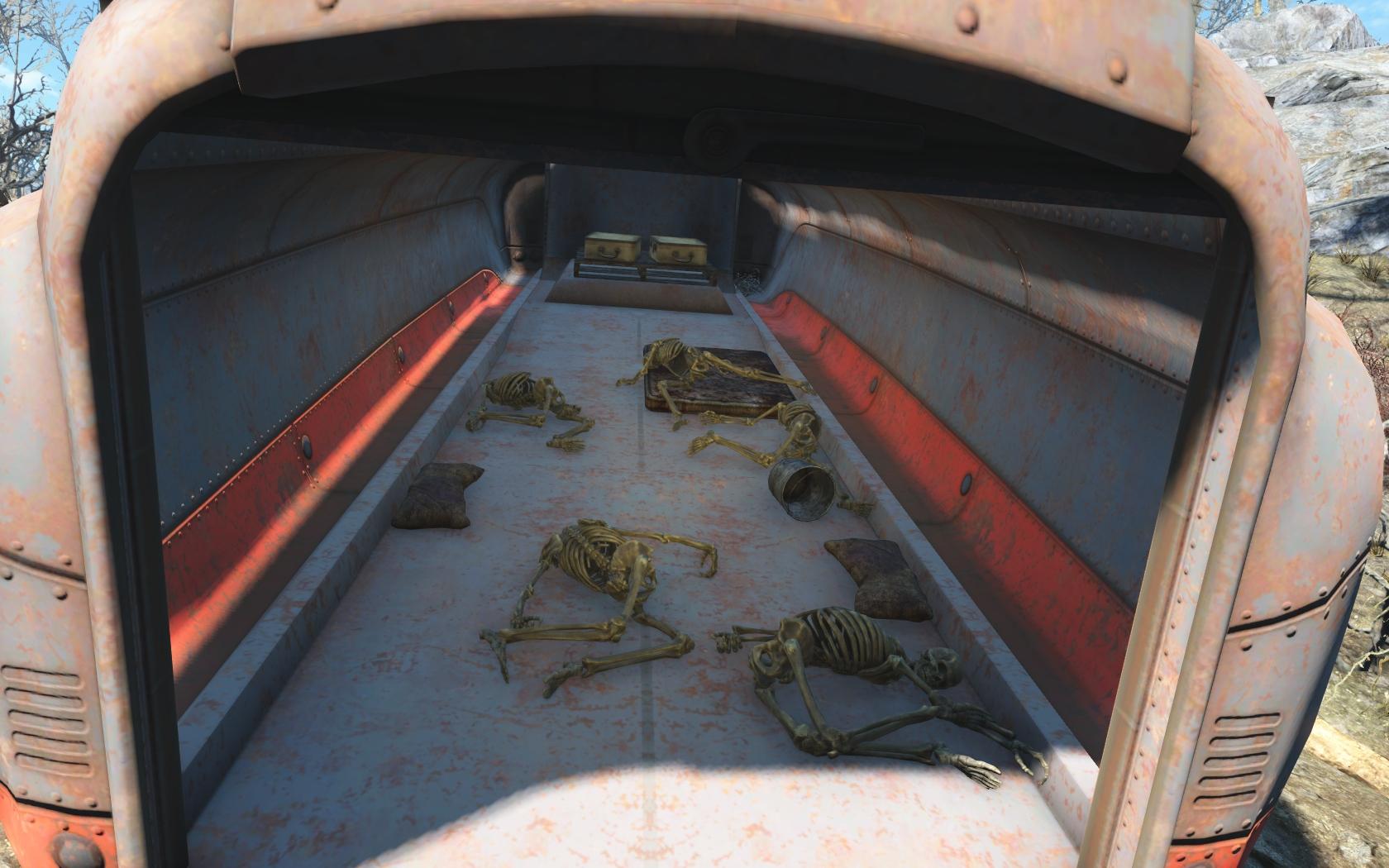 Скелеты в машине (севернее Лодочного домика Таффингтона) - Fallout 4 Лодочный домик Таффингтона, Скелет