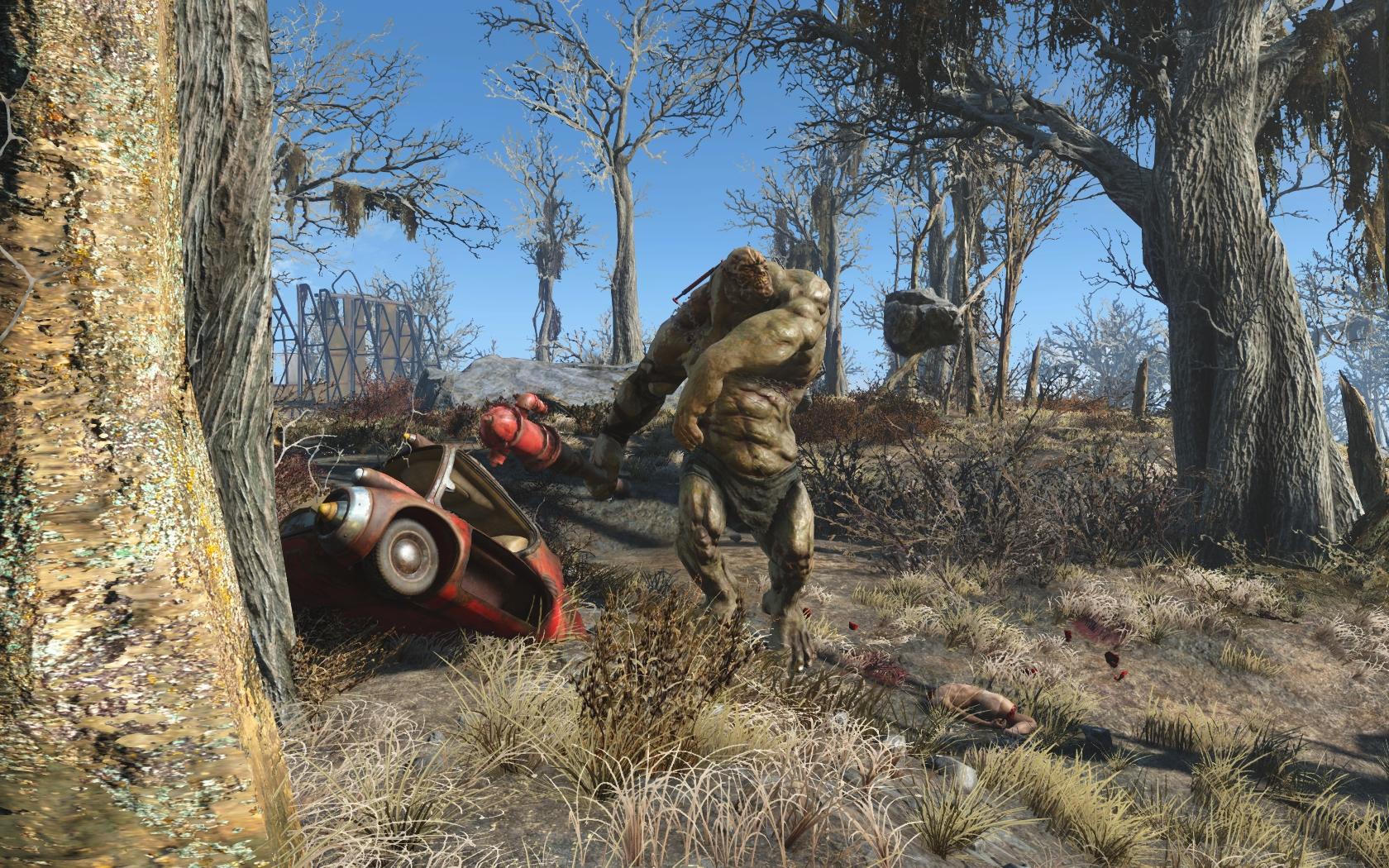 Чудище (юго-западнее Теплицы Гринтоп) - Fallout 4 Теплица Гринтоп, Чудище