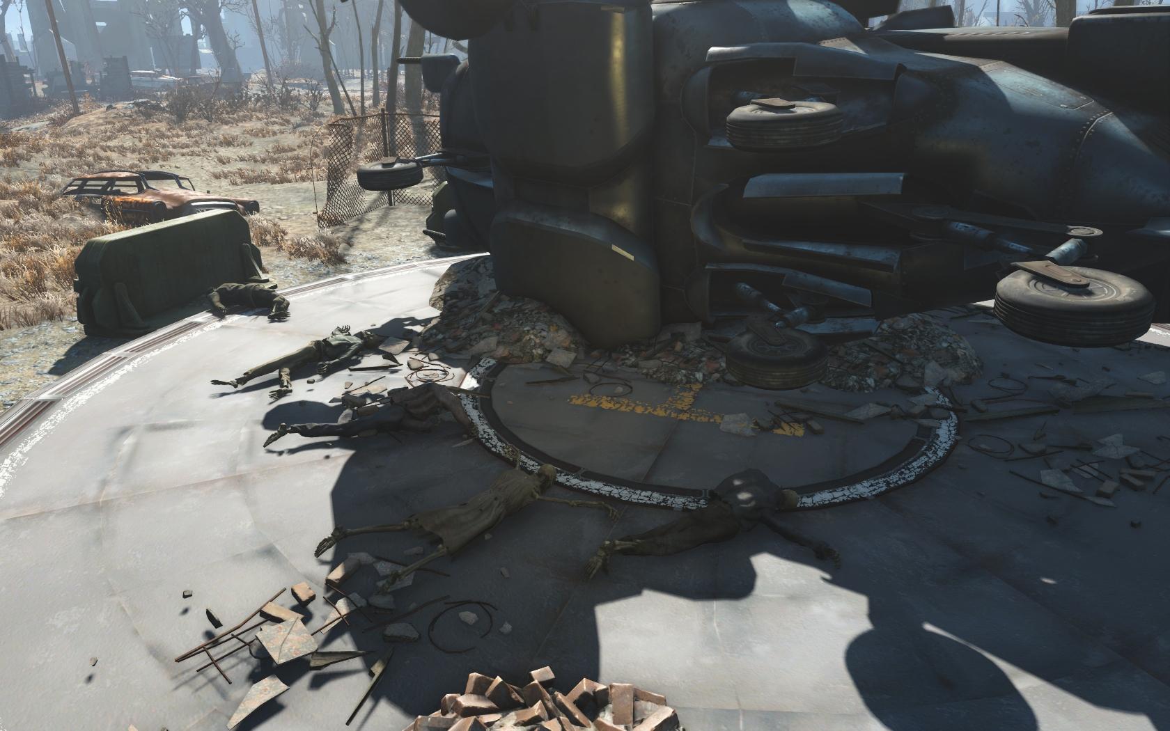 Надеялись на винтокрыл (Тренировочная площадка Национальной гвардии) - Fallout 4 Скелет, Юмор
