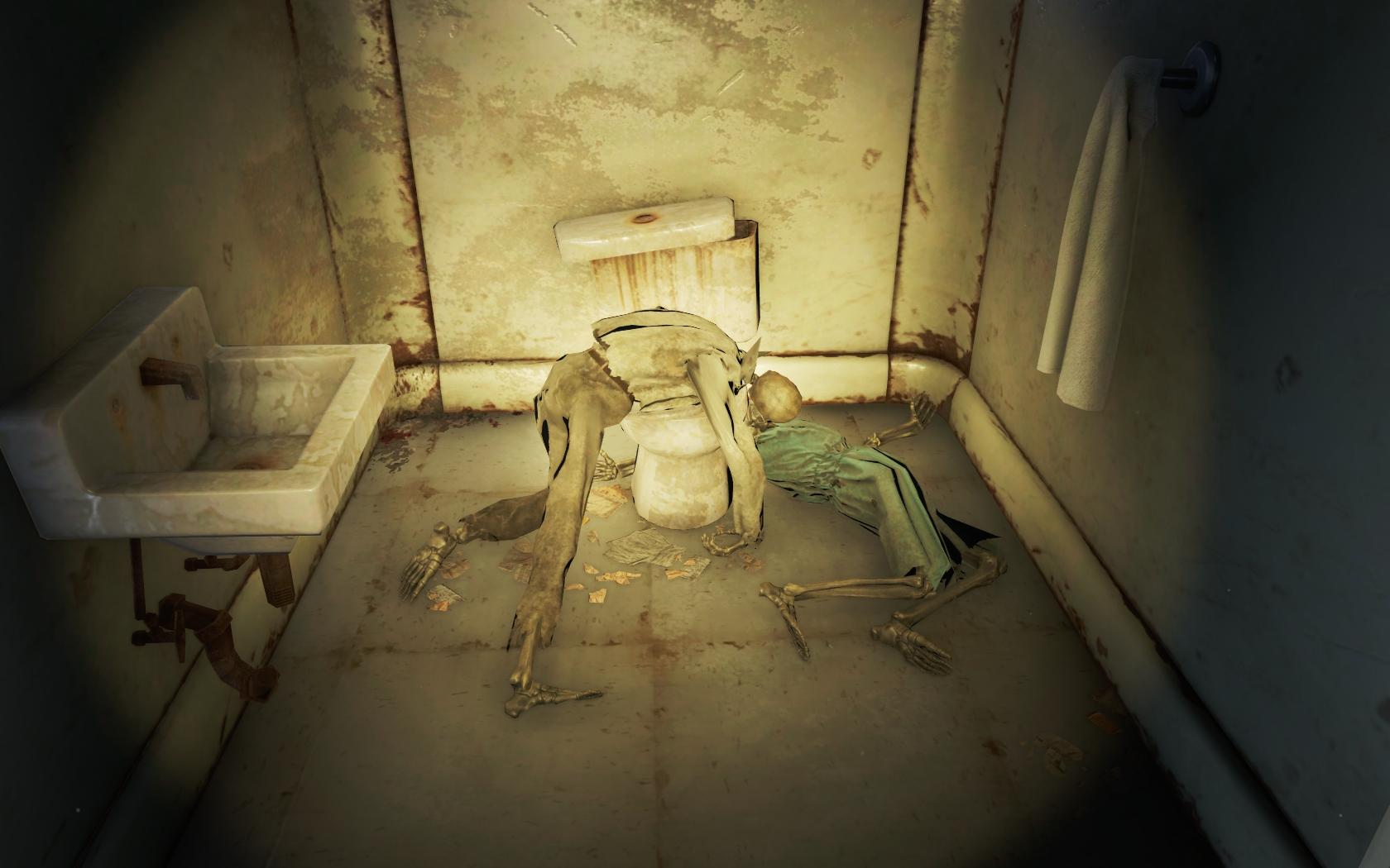 Парочка в туалете (Тринити-тауэр) - Fallout 4 Скелет, Юмор