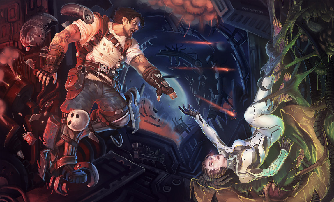 comission__hots_kerrigan_and_raynor_by_larbesta-d5yd1m0.jpg - StarCraft 2: Wings of Liberty