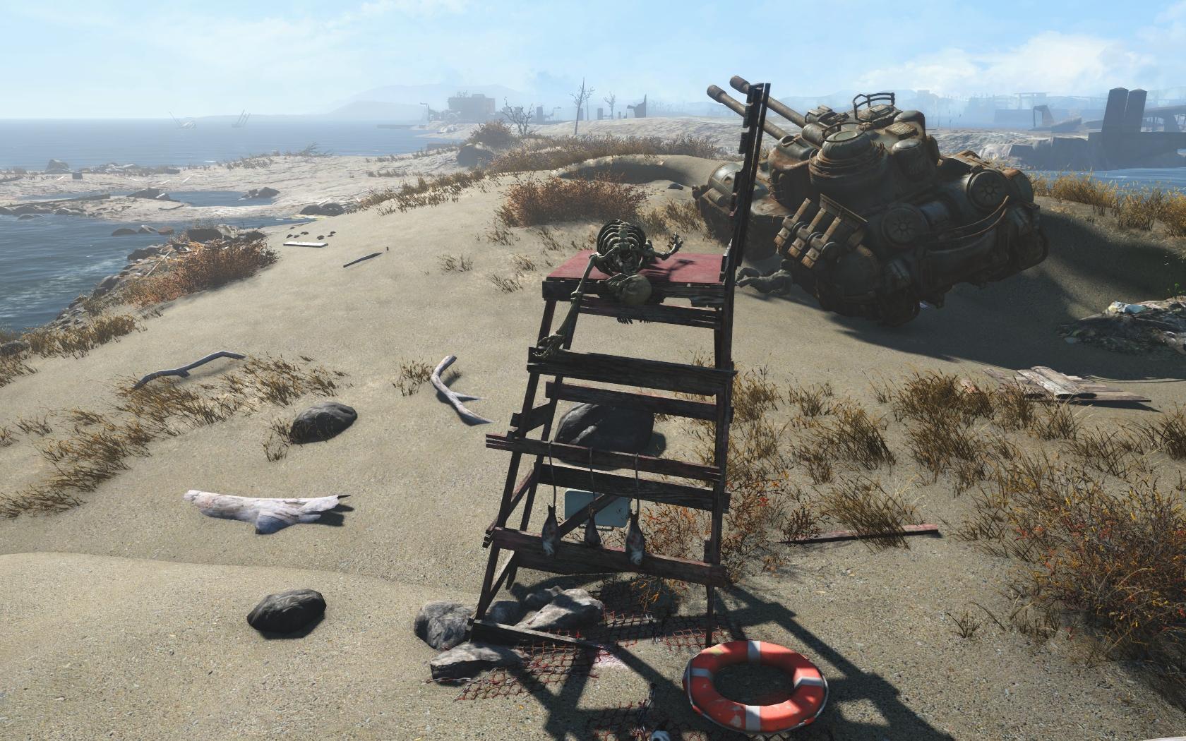 Спасатель (севернее Нордхаген-Бич) - Fallout 4 скелет, Юмор