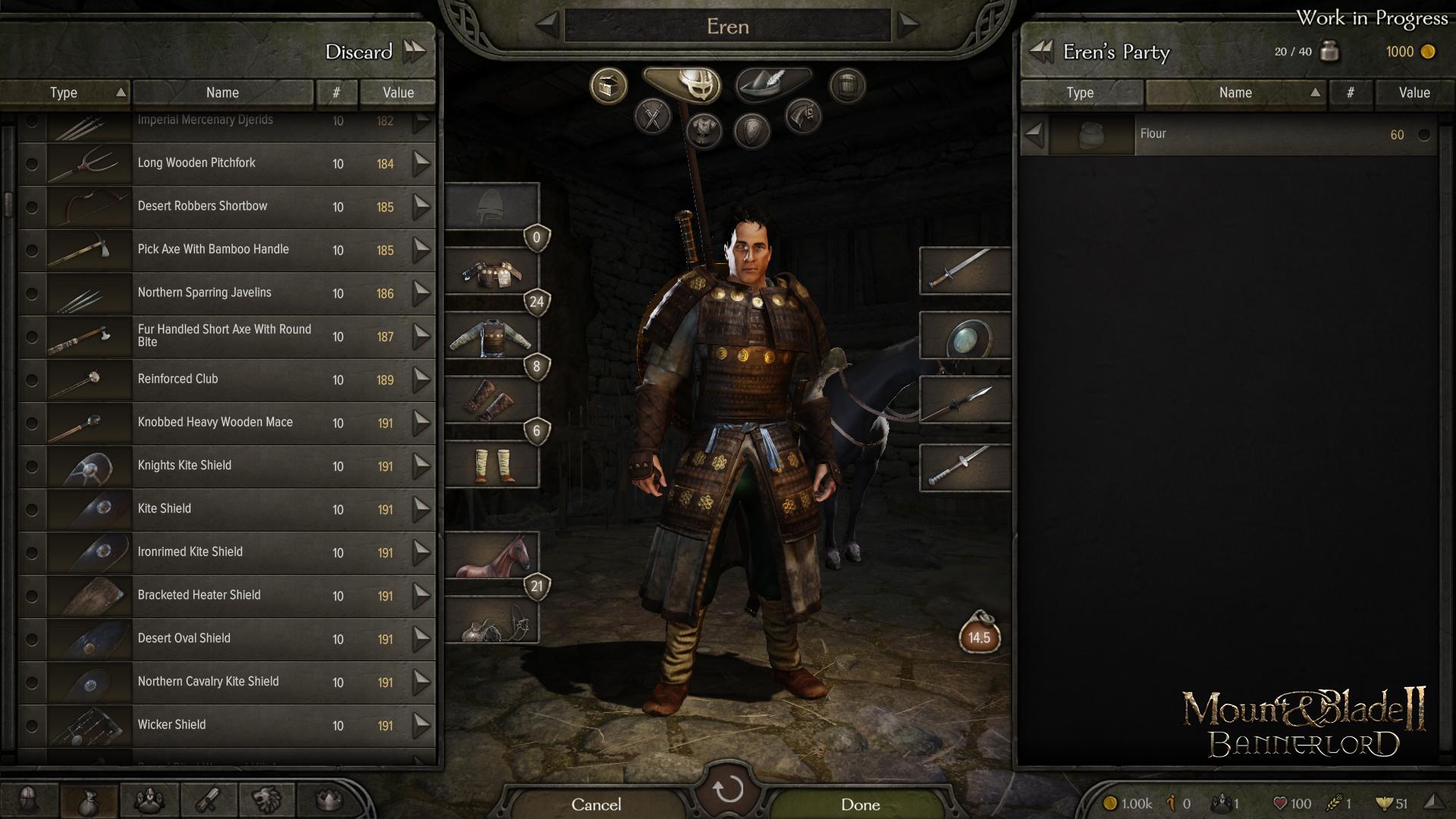 Инвентарь - Mount & Blade 2: Bannerlord