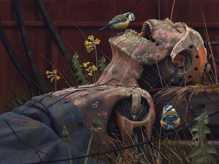 412314-Simon_Stålenhag-Simon_Stalenhag-cyberpunk-artwork-robot-rust-titmouse-androids-metal-birds-grass-flowers-748x561.png - Cyberpunk 2077