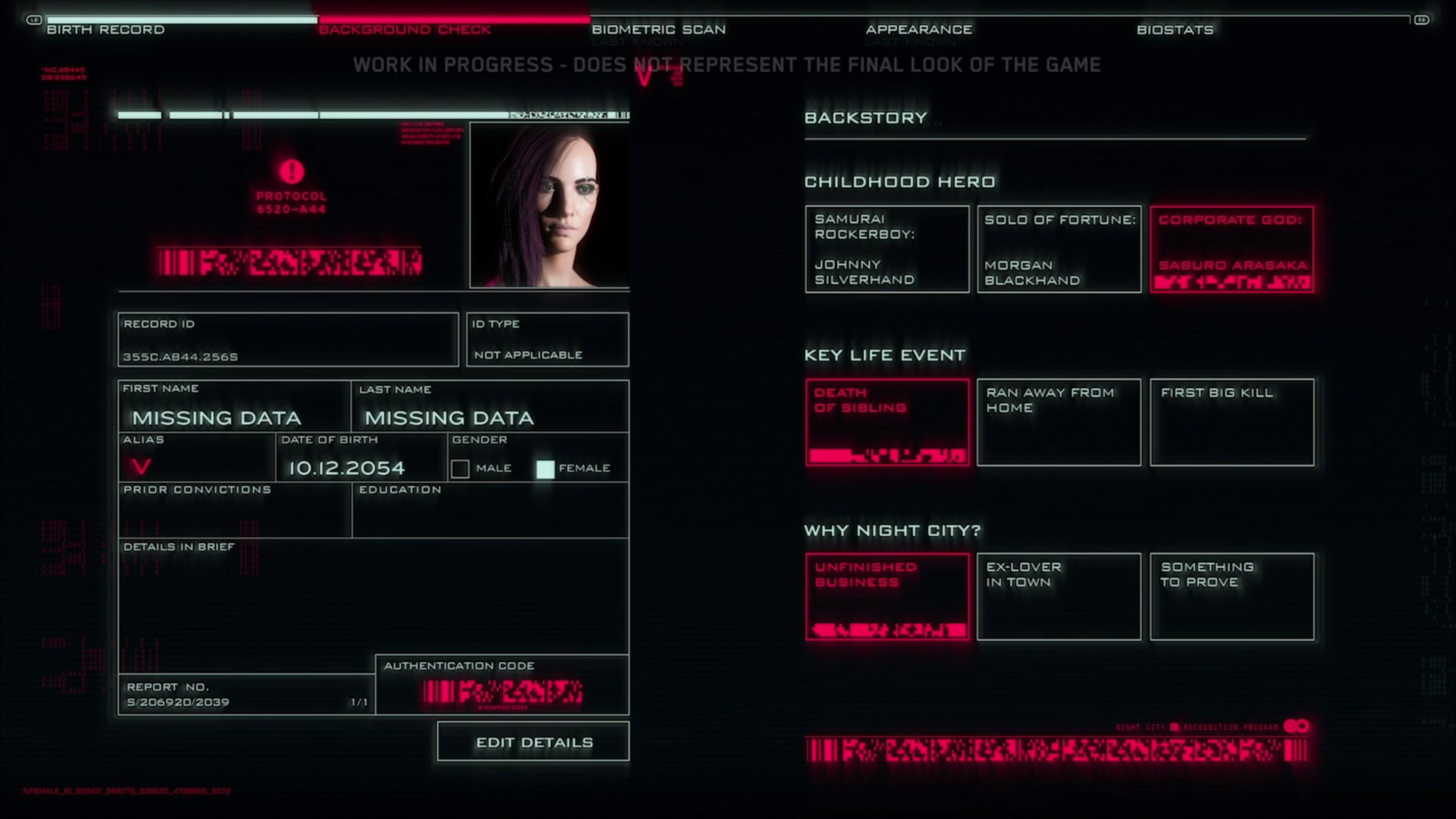 создание персонажа - Cyberpunk 2077