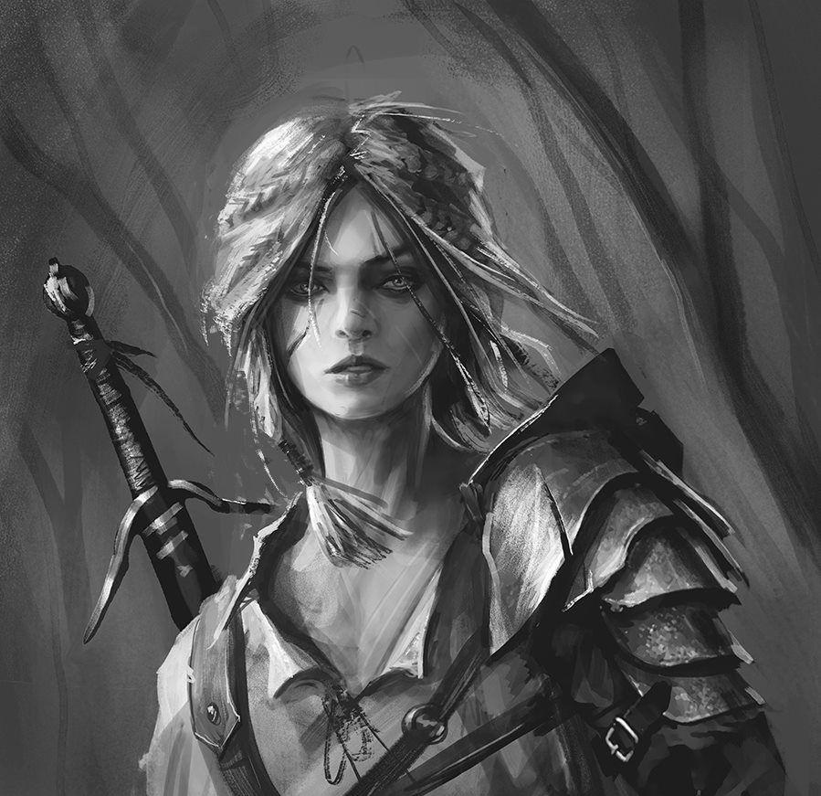 Цири. Рисунок карандашом - Witcher 3: Wild Hunt, the Арт, Цири