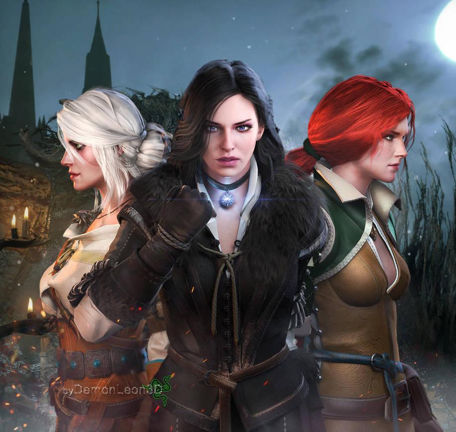 the_witcher___ladies_by_demonleon3d_d9ku89j-pre.jpg - Witcher 3: Wild Hunt, the
