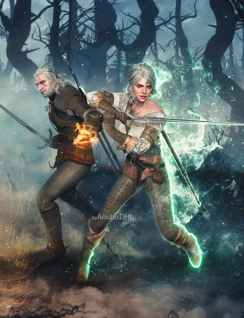 commission__geralt_and_ciri_by_anubisdhl_dc4hoho-pre.jpg - Witcher 3: Wild Hunt, the