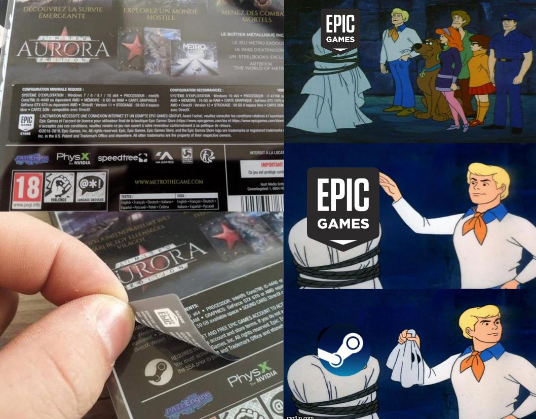 Это просто эпично...или нет? Они просто поместили наклейку epic games, чтобы скрыть логотип steam. - Metro Exodus Юмор
