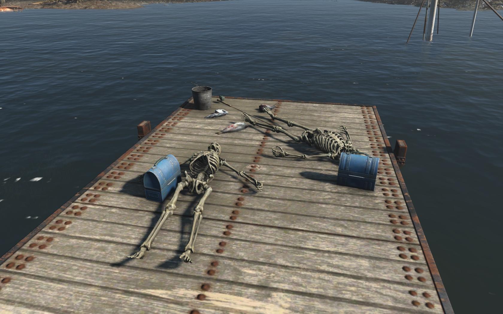 Рыбаки (севернее Брейкхарт-Бэнкс) - Fallout 4 скелет, Юмор