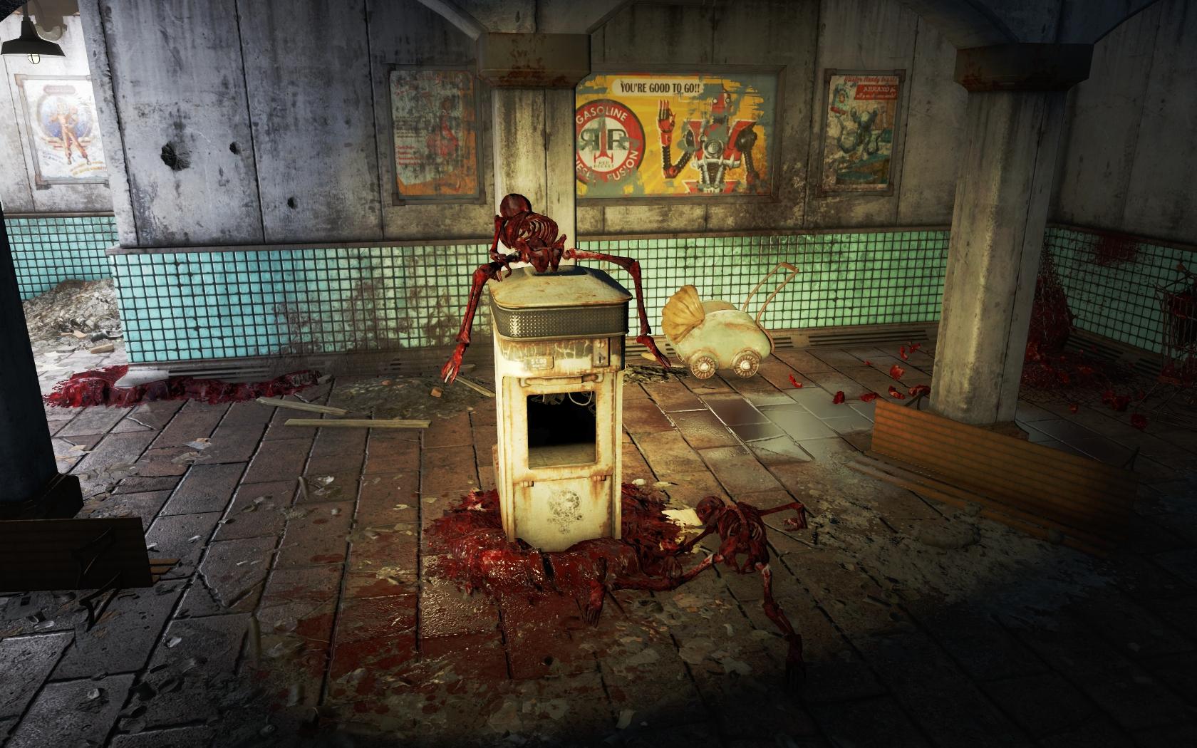 Скелет на киоске (Станция Копли) - Fallout 4 скелет, Юмор