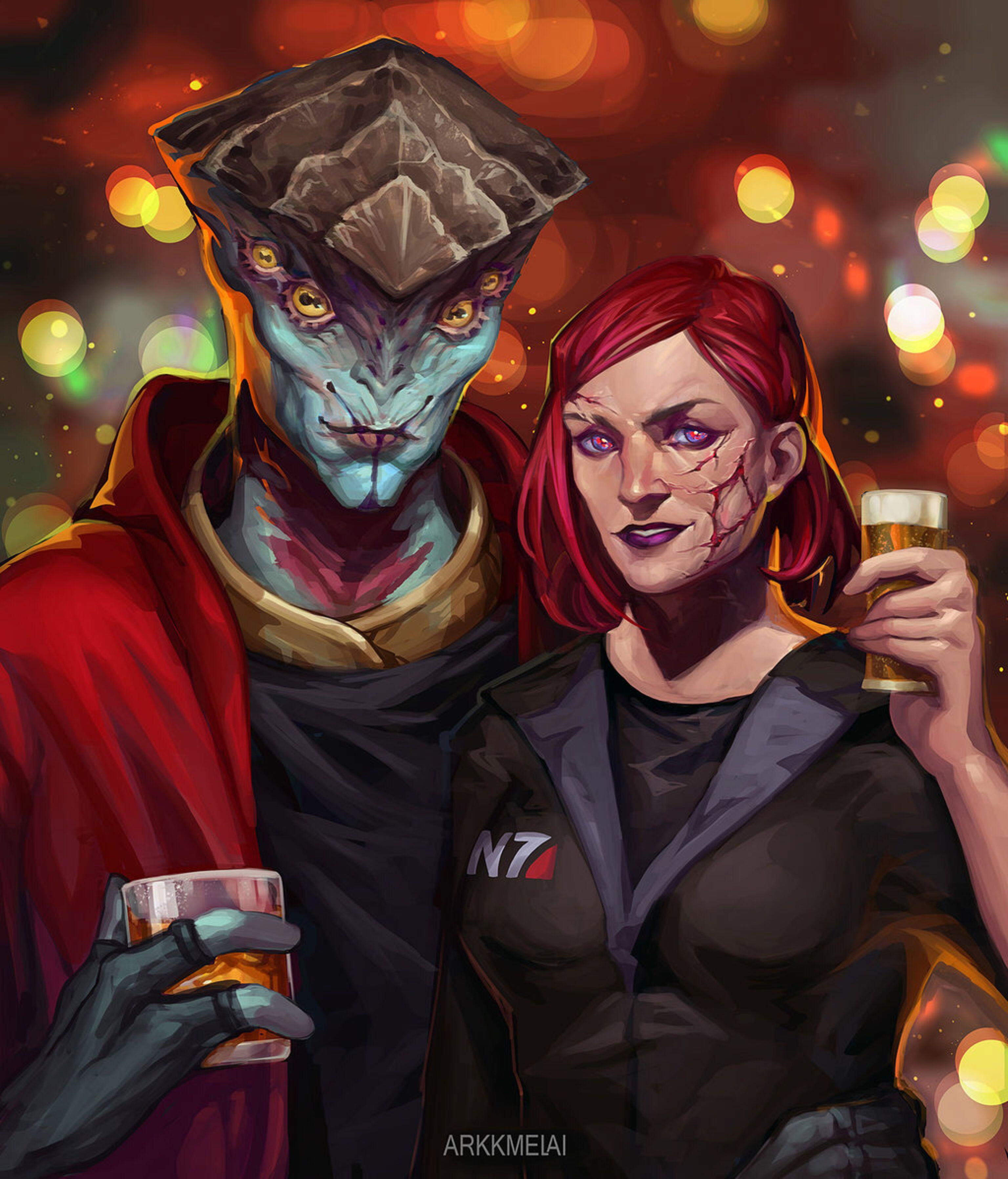 Джейн бухает вместе с Явиком ) - Mass Effect 3
