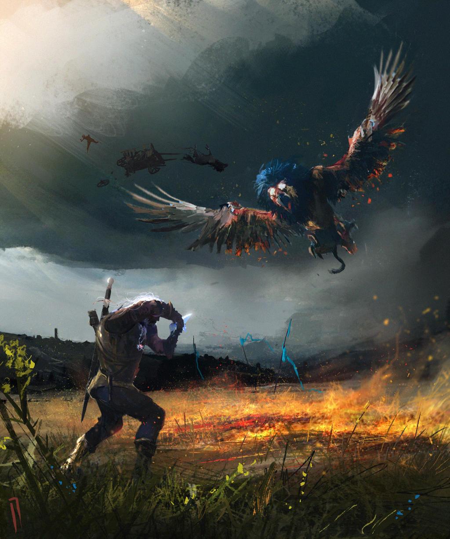 Геральт и грифон - Witcher 3: Wild Hunt, the