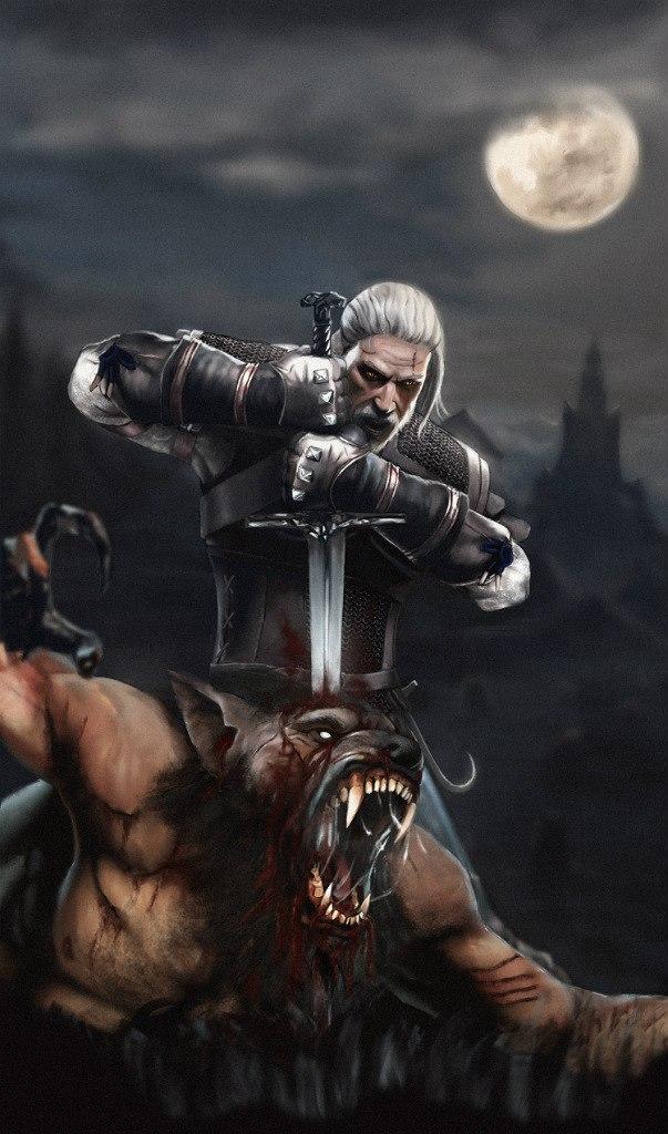 Ведьмак и какой-то оборотень ) - Witcher 3: Wild Hunt, the