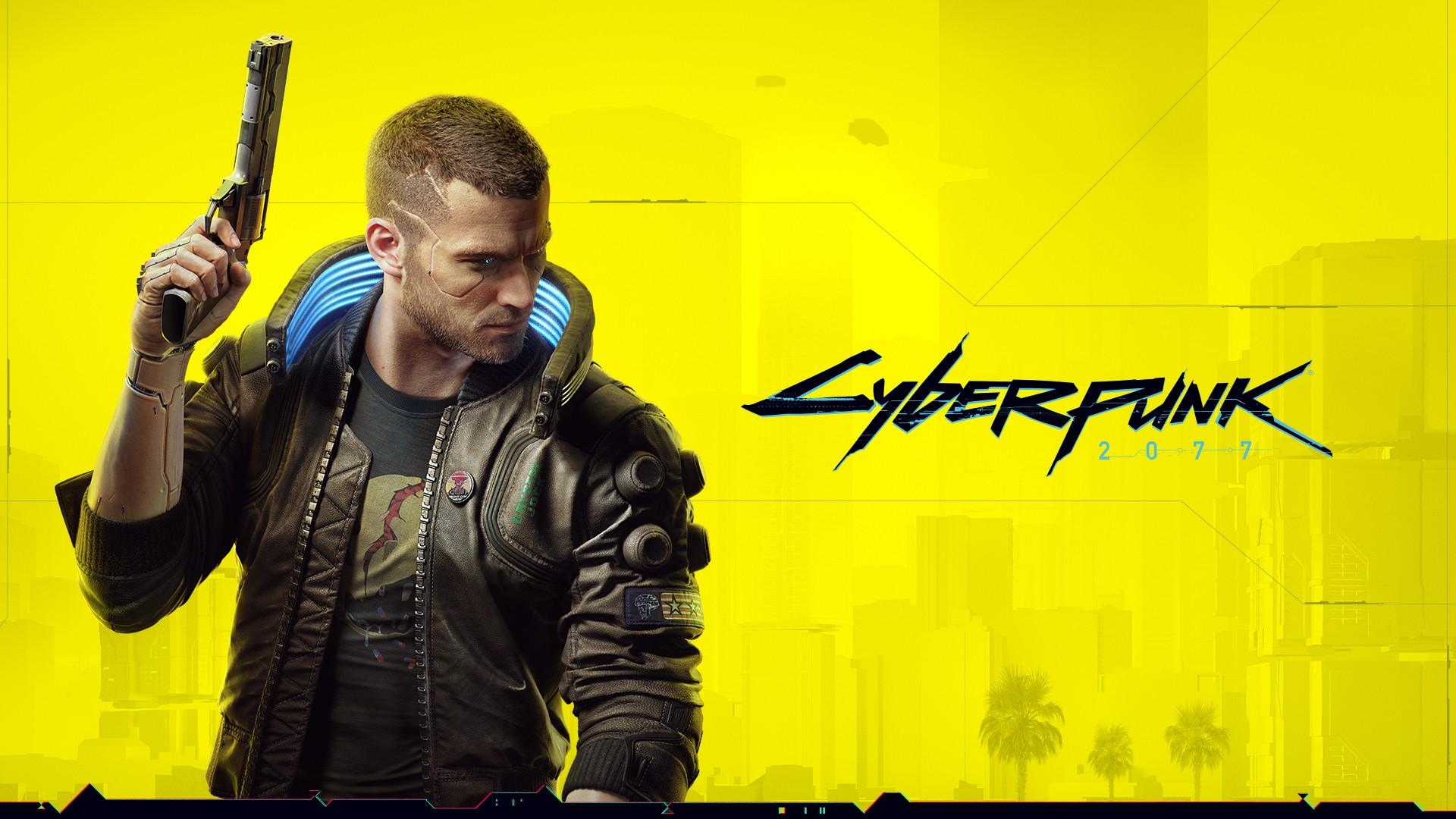 Официальный арт по игре с мужской версией главного героя - наемника по имени V - Cyberpunk 2077