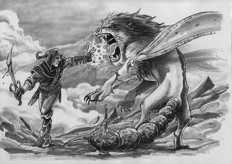 witcher_vs_manticore_by_offo-d4doh6x.jpg - Witcher 3: Wild Hunt, the