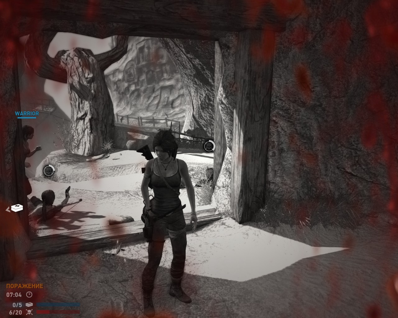 Первый тип бага: Лара застыла при попытке вылечить союзника - Tomb Raider (2013)