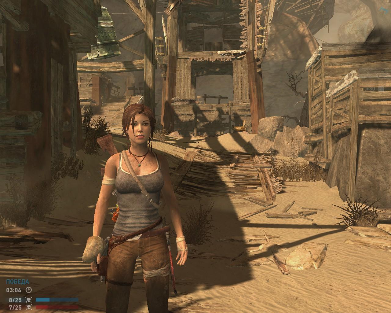 Второй тип бага: мешок с запчастями прилип к руке Лары - Tomb Raider (2013)