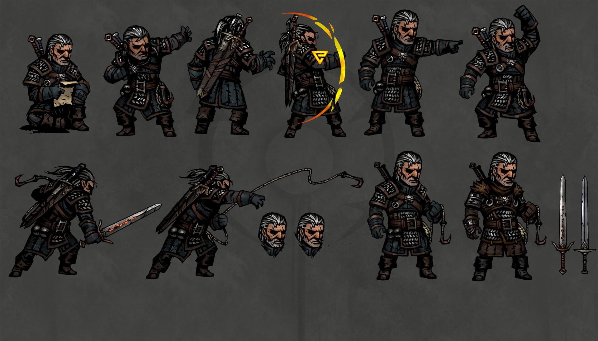 Геральт в стиле игры The Darkest Dungeon - The Witcher 3: Wild Hunt