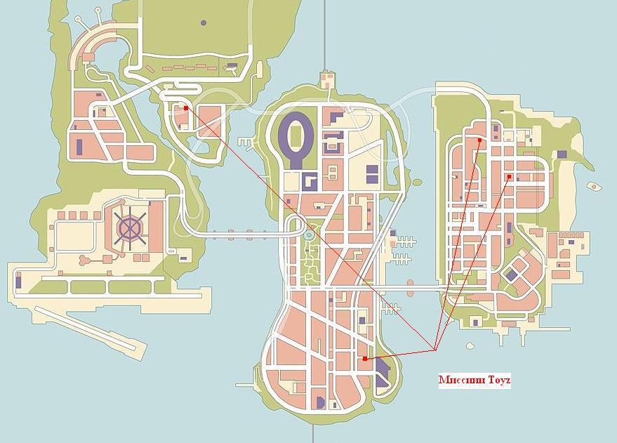 Карта - миссии Toyz - Grand Theft Auto 3