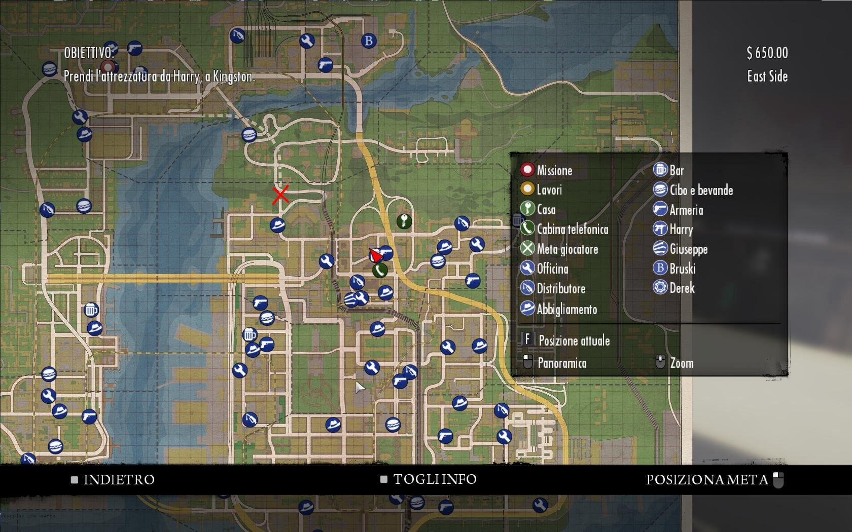Местонахождение Вито Джо и Генри на карте от пункта назначения - Mafia 2