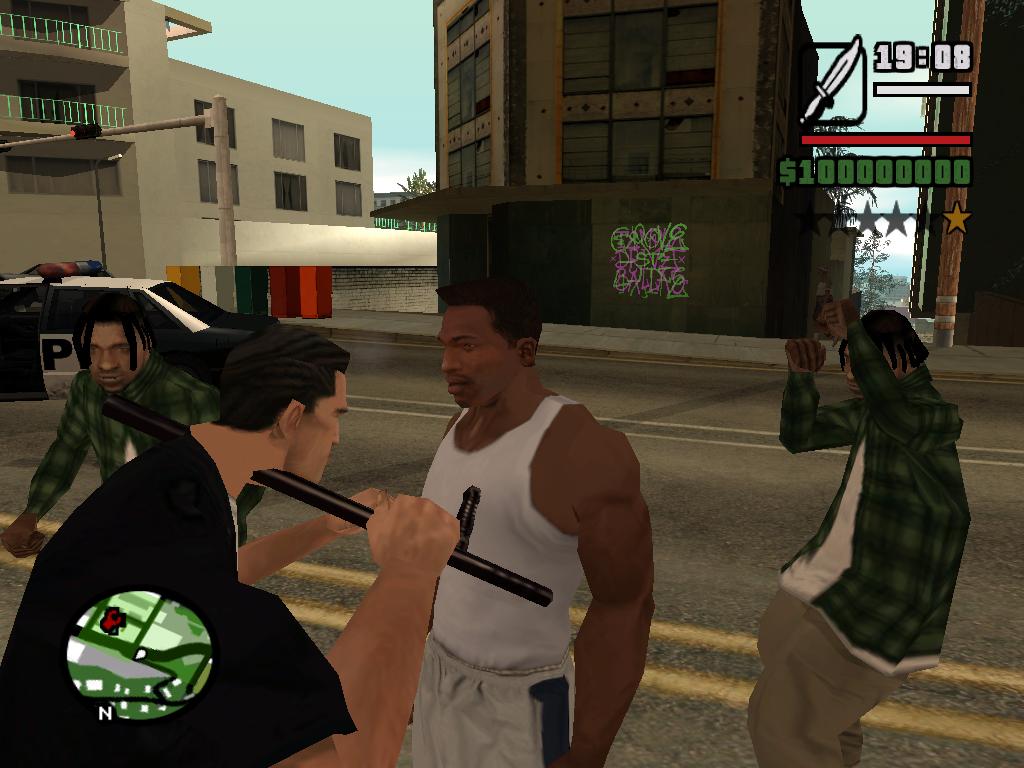 Коп вытаскивает дубинку с шеи - Grand Theft Auto: San Andreas