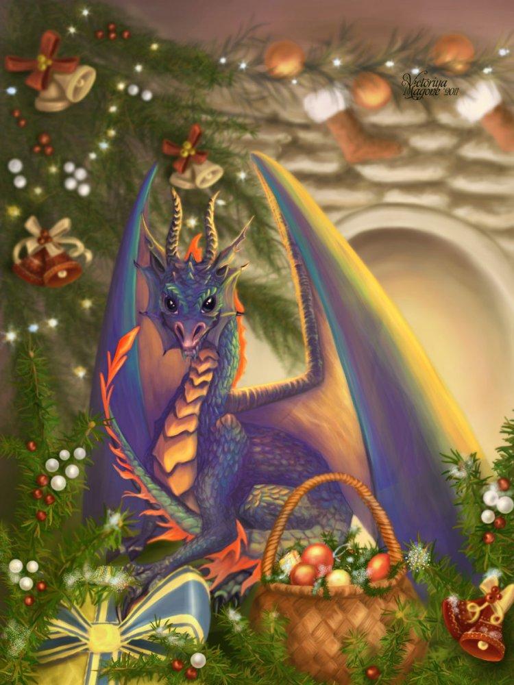 Дракон к новому году в открытках