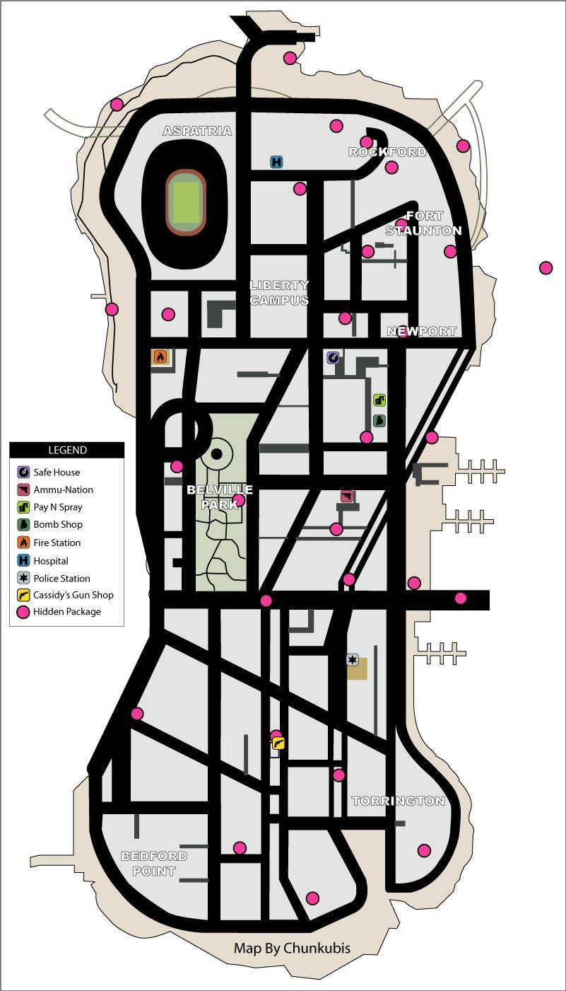 Staunton Island Hidden Packages - Grand Theft Auto: Liberty City Stories