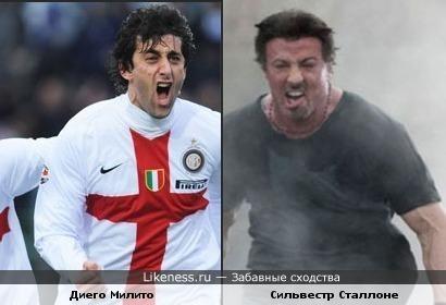 Футболист Диего Милито похож на Сильвестра Сталлоне - - забавные сходства