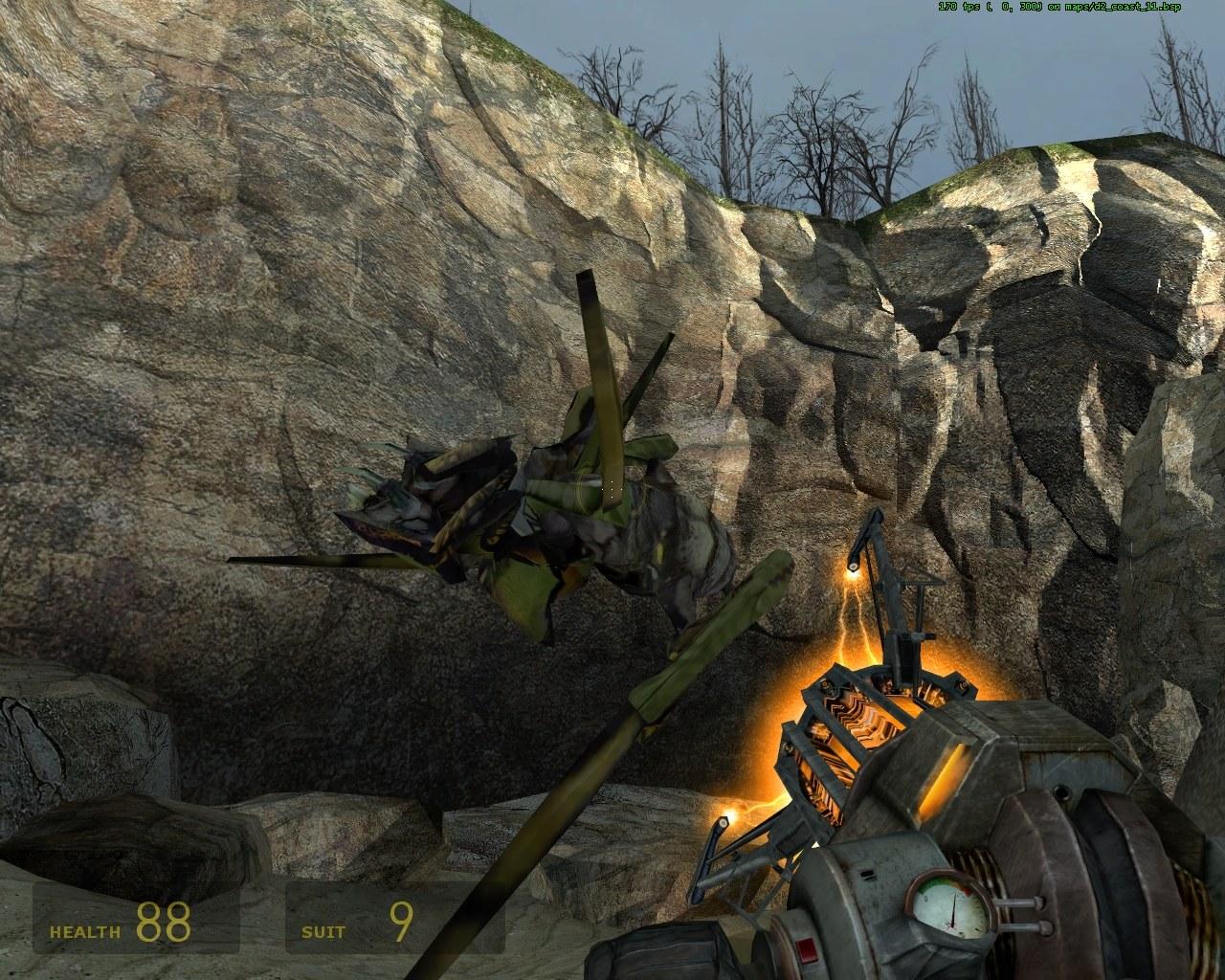 Труп притягивается гравипушкой - Half-Life 2