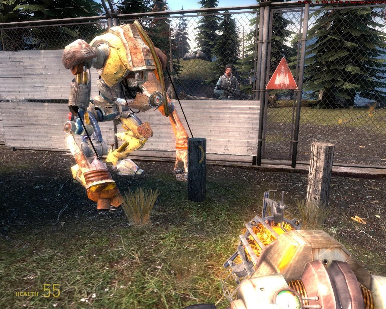 С этого колышка можно запрыгнуть на Пса - Half-Life 2
