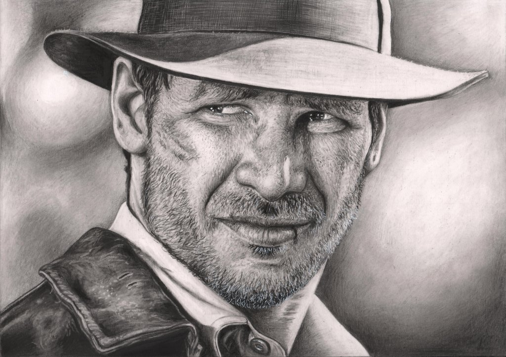 indiana_jones__harrison_ford__graphite_drawing_by_pen_tacular_artist-d64ryex.jpg - Indiana Jones and the Emperor's Tomb