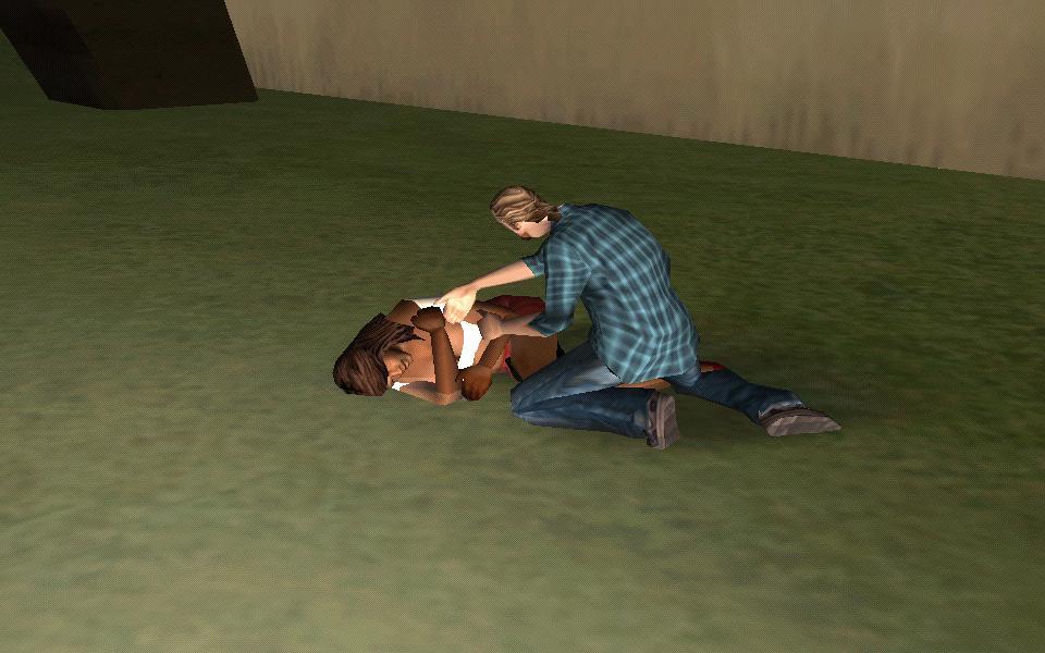 Шлюшонку отпиздели и мужик ей помагает))))) - Grand Theft Auto: San Andreas