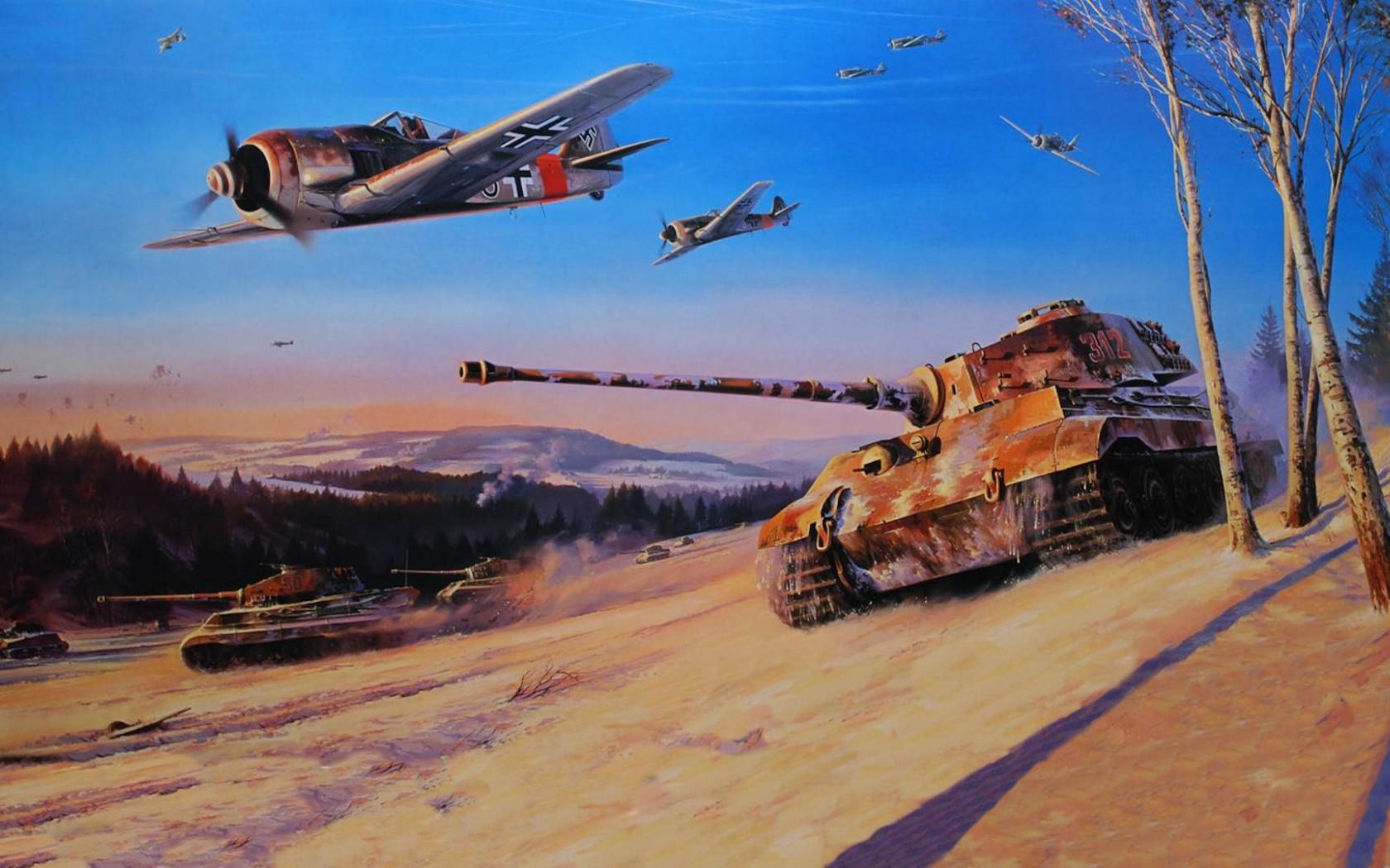 Открытка с танками и самолетами