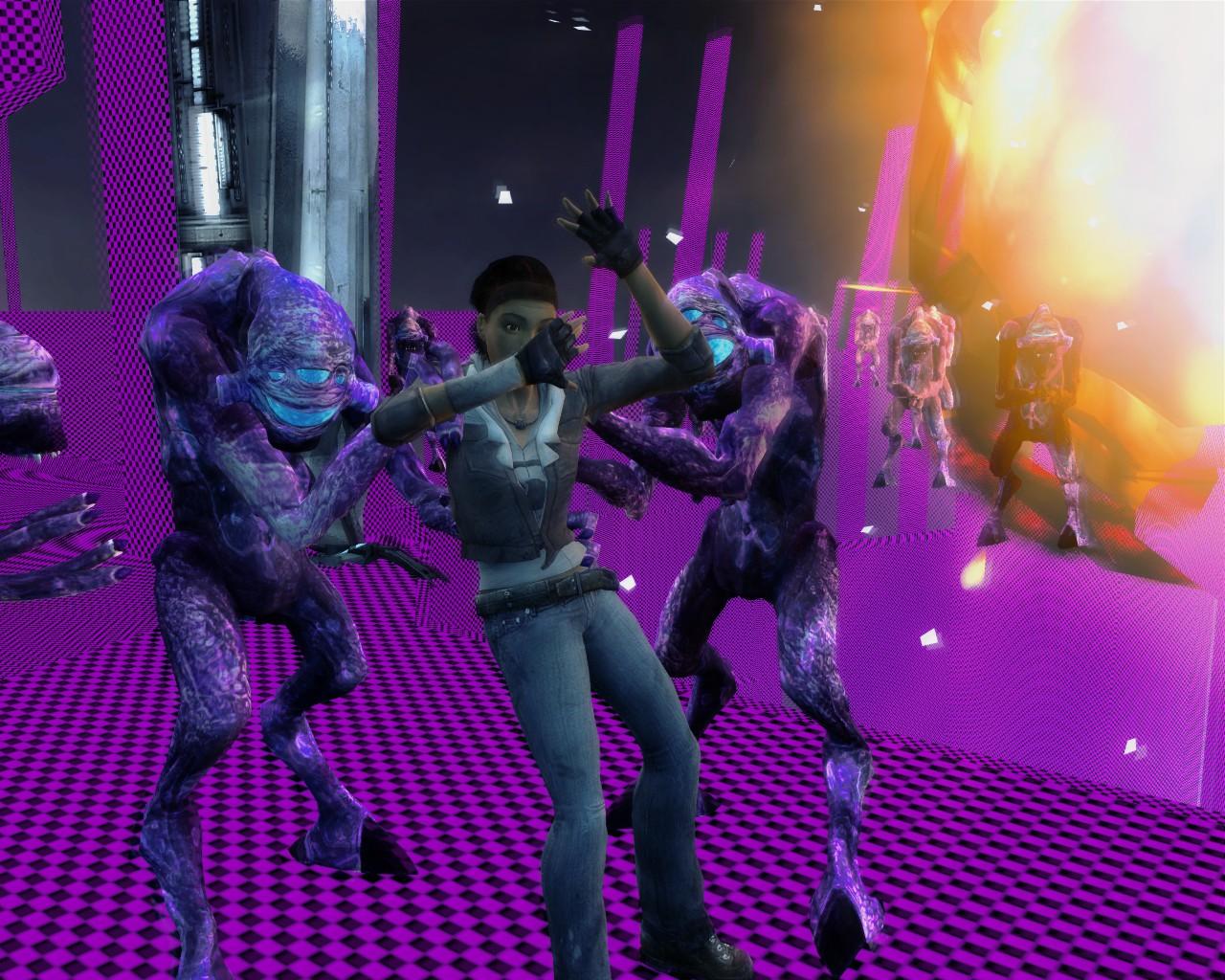 Фиолетовые вортигонты гармонично смотрятся на фоне эмо-клетки - Half-Life 2 вортигонты, допился до фиолетовых вортигонтов, мымра, Эп1