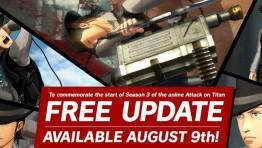 9 августа в Attack on Titan 2 прибудет бесплатное обновление в честь выхода 3 сезона аниме-сериала