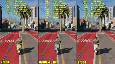 Сравнение частоты кадров - Watch Dogs 2: 8700K 4.5GHz Vs 7700K 4.5GHz (DudeRandom84)