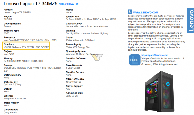 Подтверждена видеокарта NVIDIA GeForce RTX 3070 Ti 16 ГБ