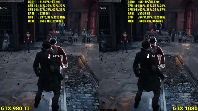 "Assassin's Creed: Syndicate ""Сравнение производдительности GTX 1080 Vs GTX 980 TI 1080p Ultra Settings"""
