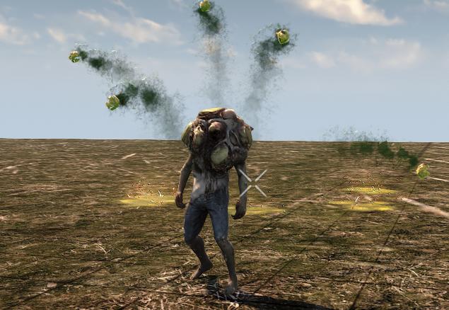 Зомби, плюющийся радиоактивной ( в будущем ) жижой