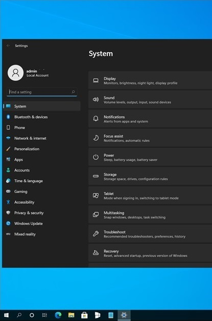 """В сеть утёк скриншот приложения """"Параметры"""" из Windows 11 / Sun Valley"""