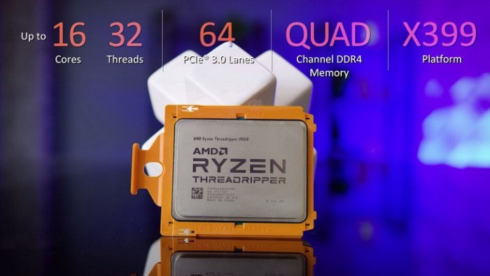 Ryzen Threadripper 1950X сильно обходит Core i9 7900X в ПО Cinebench и Blender