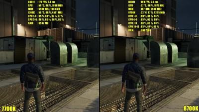Сравнение частоты кадров - Watch Dogs 2 8700K Vs 7700K GTX 1080 TI [DudeRandom84]