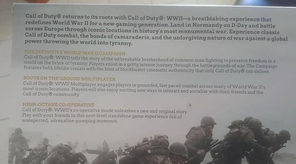 Небольшие скриншоты, обложка инемного подробностей Call ofDuty: WWII